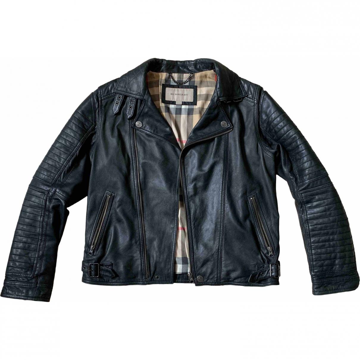 Burberry - Blousons.Manteaux   pour enfant en cuir - noir