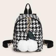 Pom Pom Decor Houndstooth Backpack