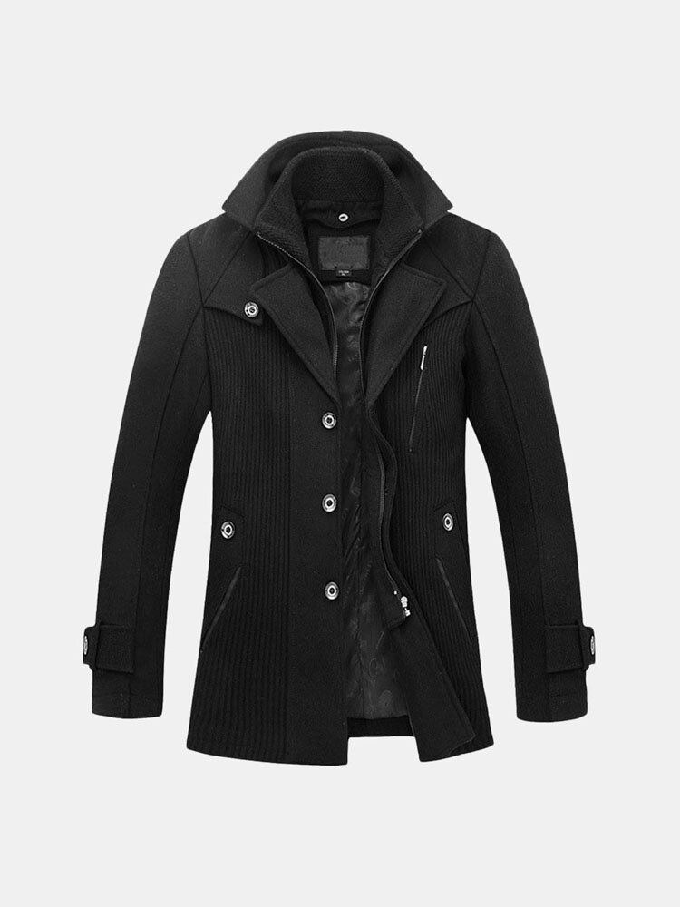 Mens Woolen Thickened Warm Fake Two Pieces Mid Long Fashion Casual Trench Coat
