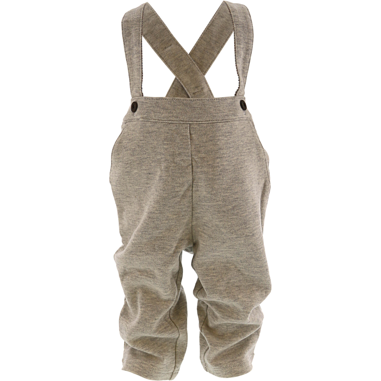 Janie And Jack Boy's Heather Grey Knit Suspender Pant Pants - 3-6 Months