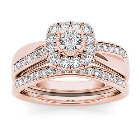 Womens 5/8 CT. T.W. Genuine White Diamond 10K Rose Gold Bridal Set, 7 1/2 , No Color Family