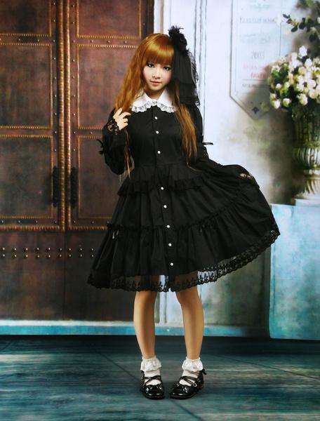 Milanoo Negro Algodon Lolita OP Vestido Largas Mangas Cuello Redondo Encaje
