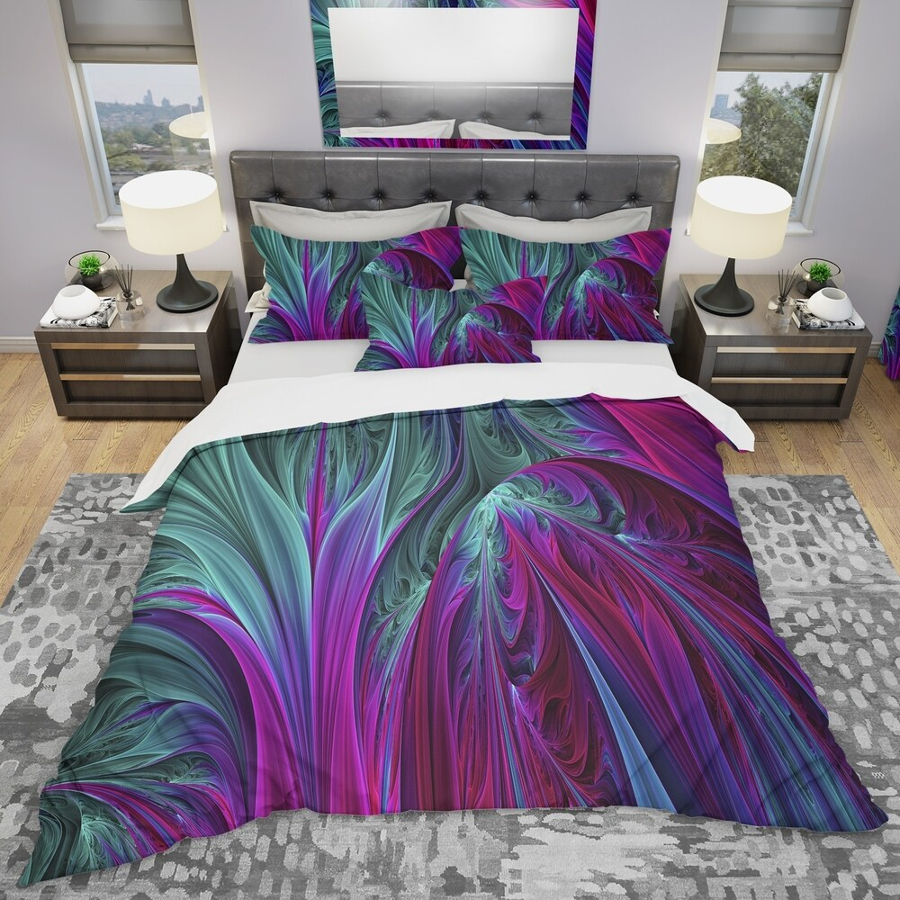 Designart 'Purple and Green Jungle' Modern & Contemporary Bedding Set - Duvet Cover & Shams (Twin Cover + 1 sham (comforter not included))