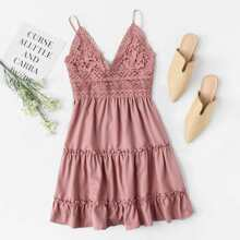 Floral Crochet Mini Cami Dress