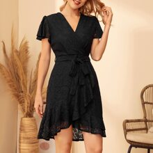 Guipure Lace Butterfly Sleeve Belted Wrap Dress