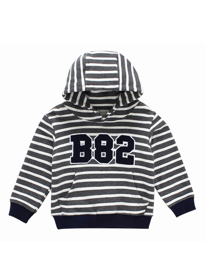 Ericdress Cotton Long Sleeve Letter And Stripe Pattern Boys And Girls Hoodie