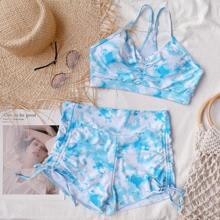 Bikini Badanzug mit Batik, Ruesche und Kordelzug