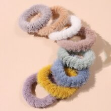 8pcs Solid Fluffy Hair Tie