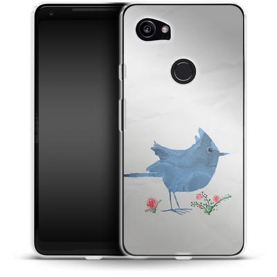 Google Pixel 2 XL Silikon Handyhuelle - Watercolour Bird White von caseable Designs