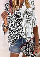 Leopard Pocket Button Shirt - White