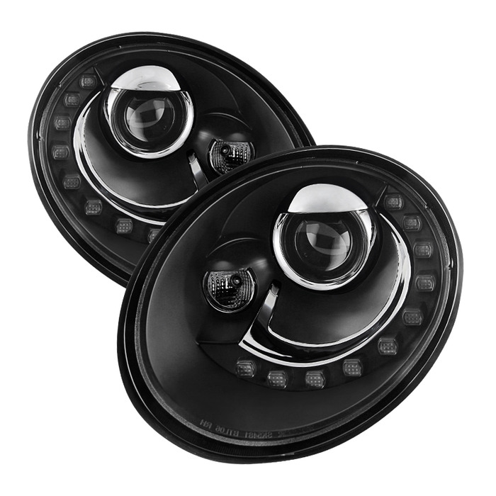 Spyder Auto PRO-YD-VB06-DRL-BK Black DRL LED Projector Headlights Volkswagen Beetle 06-10