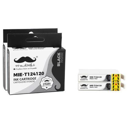 Compatible Epson T124120 Black Ink Cartridge - Moustache@ - 2/Pack