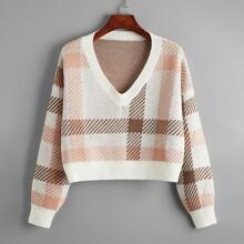 Plaid V-neck Drop Shoulder Sweater
