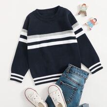 Pullover mit Streifen und Rundhalsausschnitt