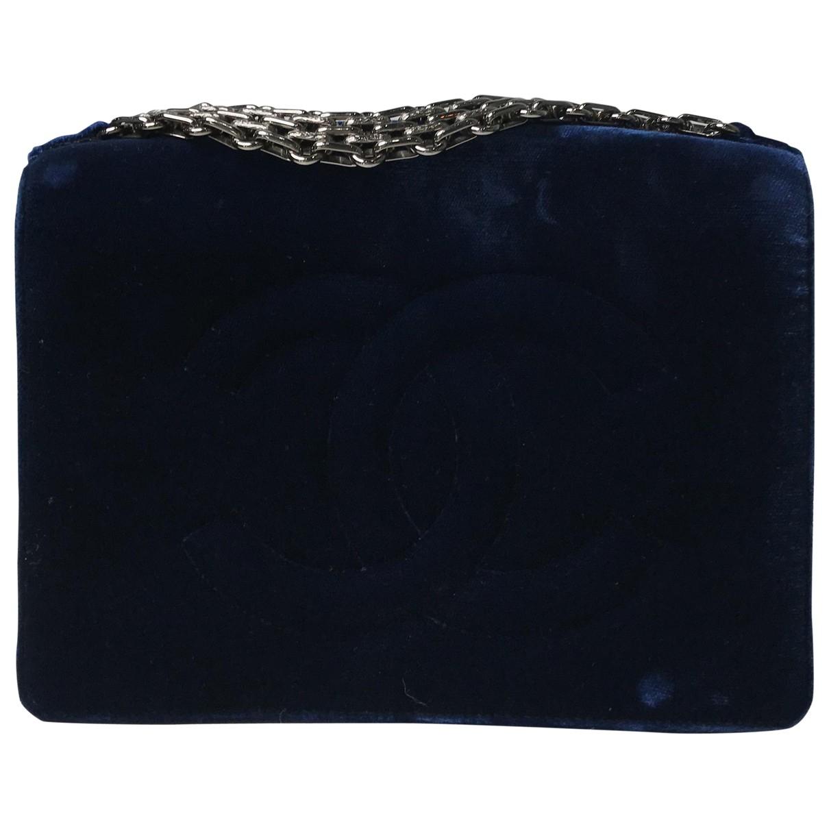 Chanel - Pochette   pour femme en velours - bleu