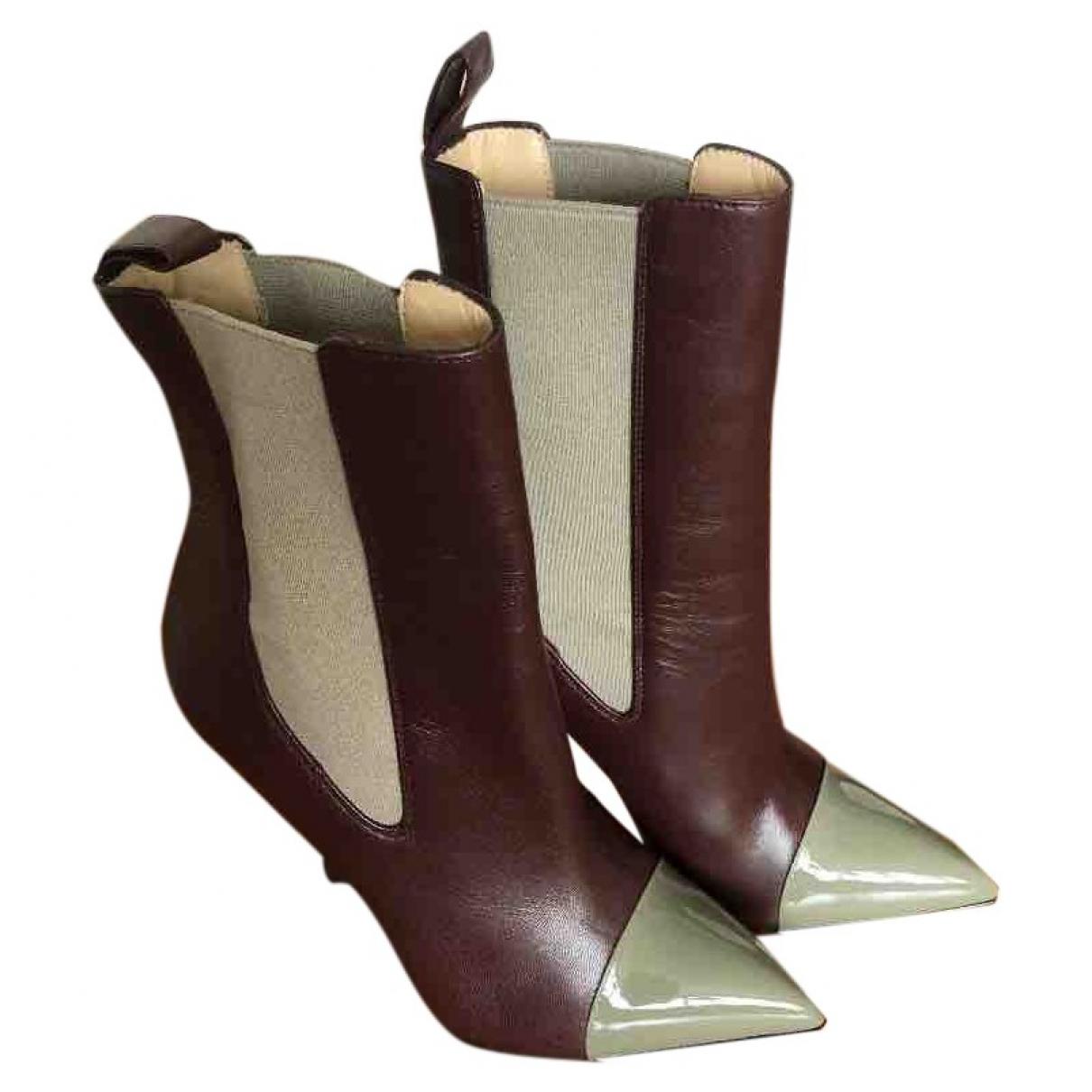Christian Louboutin - Bottes   pour femme en cuir - bordeaux