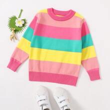 Jersey de cuello redondo de rayas de arcoiris