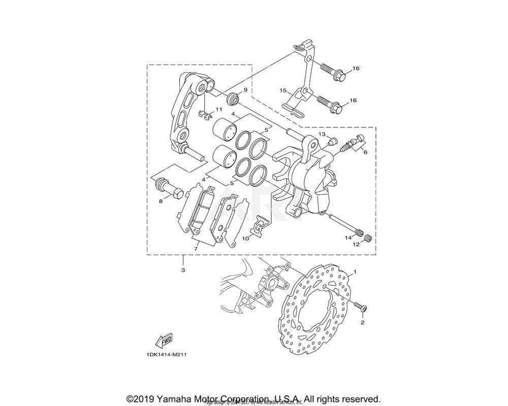 Yamaha OEM 1DK-F580T-40-00 CALIPER ASSY (LEFT)