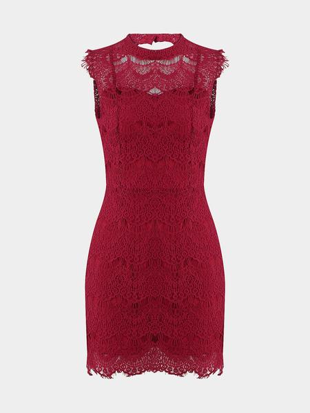 Yoins Sexy Burgundy Lace Blackless Mini Dress