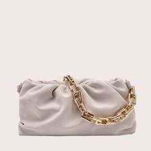 Ruched Chain Shoulder Bag