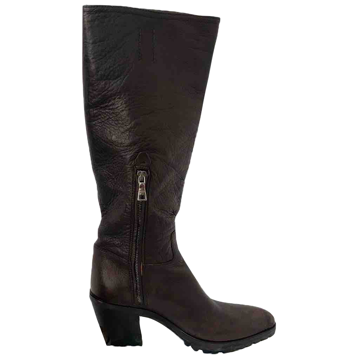 Prada \N Brown Leather Boots for Women 36 IT