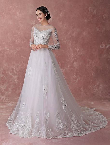 Milanoo Vestidos de novia de marfil con apliques de encaje de manga larga con cuentas de lentejuelas tren de capilla vestidos de novia