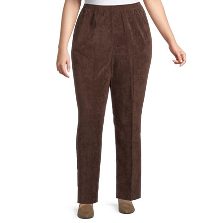 Alfred Dunner Womens Straight Corduroy Pant, 22w , Brown