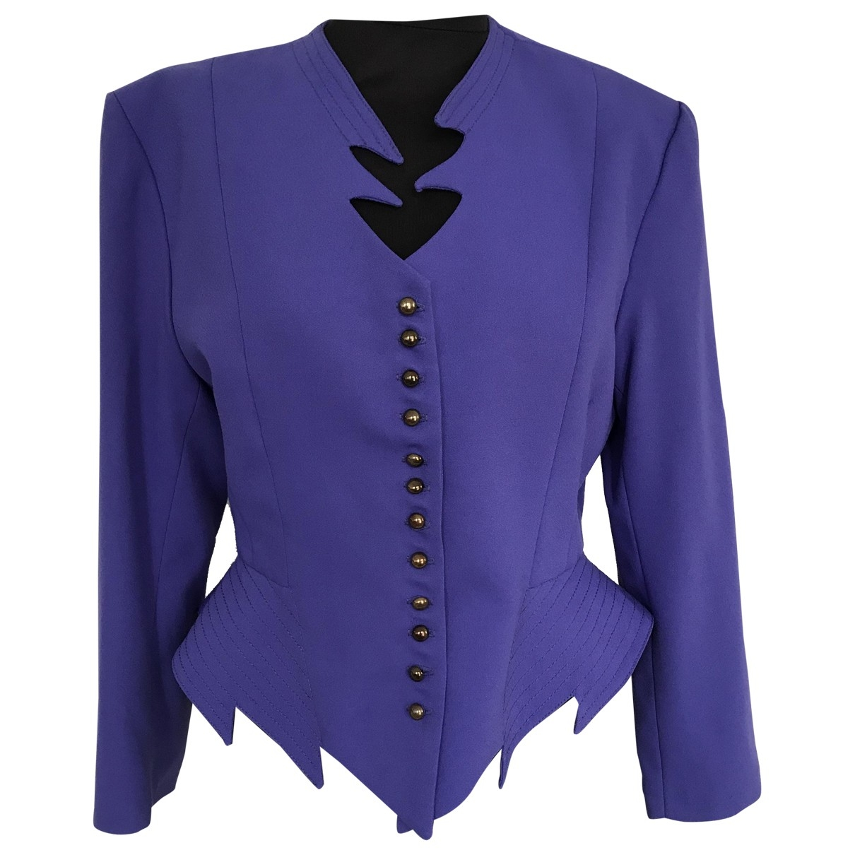 Non Signe / Unsigned Epaulettes Jacke in  Lila Wolle