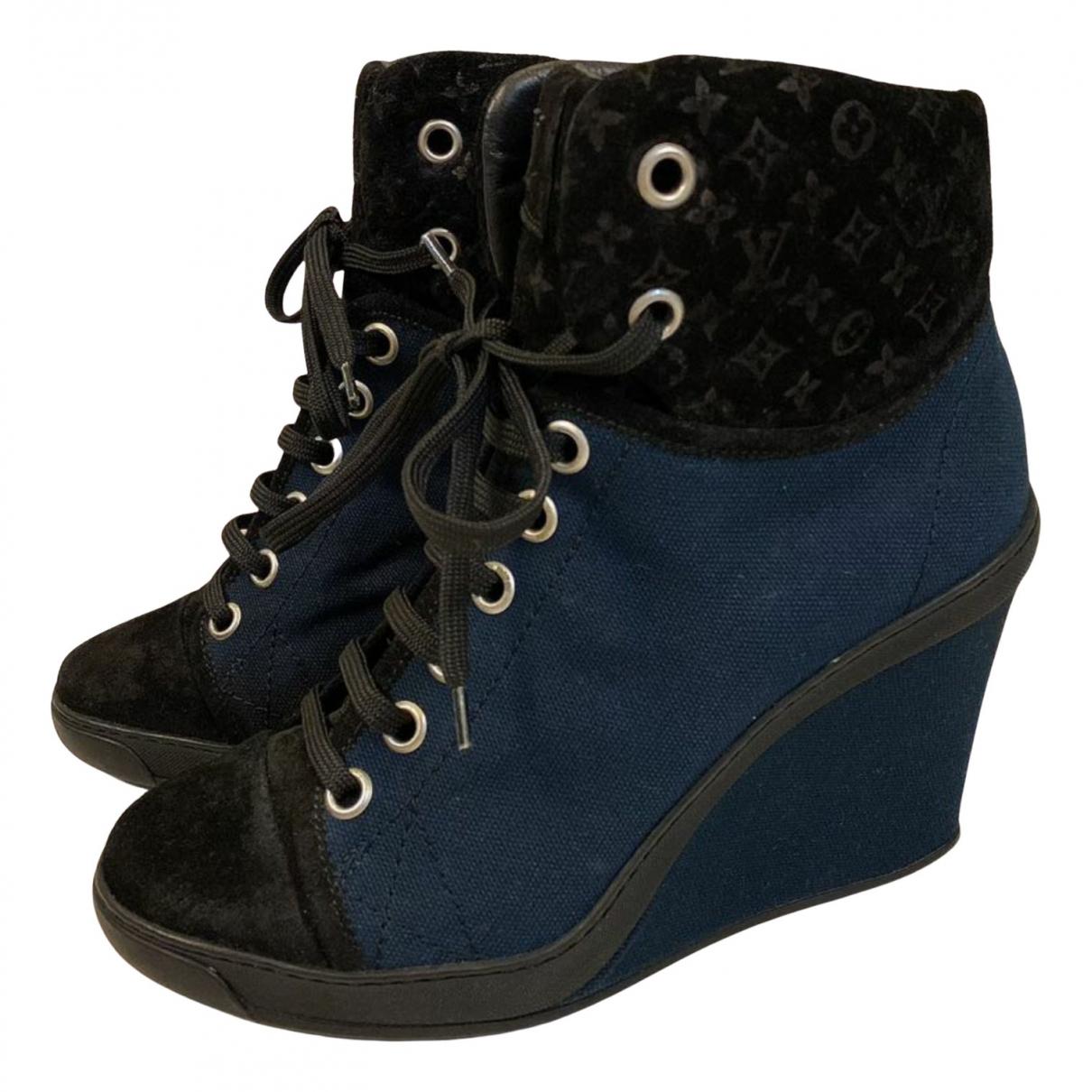 Louis Vuitton \N Stiefeletten in  Blau Leinen