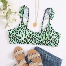 Bikini Top mit Leopard Muster und Ruesche