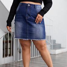 Reissverschluss  Laessig Jeans Rocke Grosse Grossen
