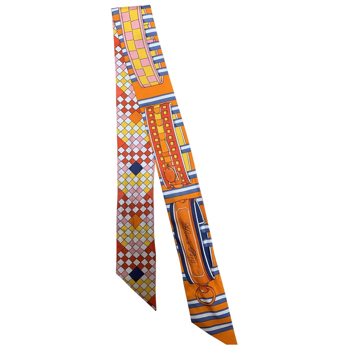 Hermes - Foulard Twilly 86 pour femme en soie - orange