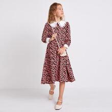 Kleid mit Kontrast, Spitzenbesatz, Peter Pan Kragen und Blumen Muster