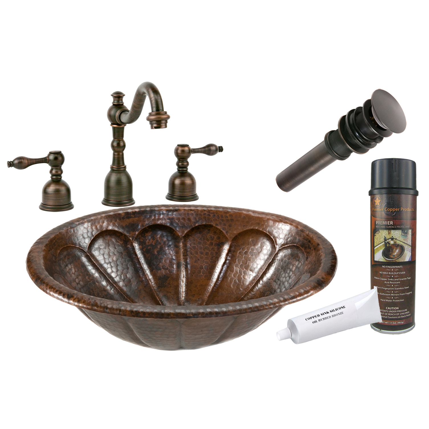 Oval Sunburst Self Rimming Hammered Coopper Sink, Faucet and Accessories Package, Oil Rubbed Bronze