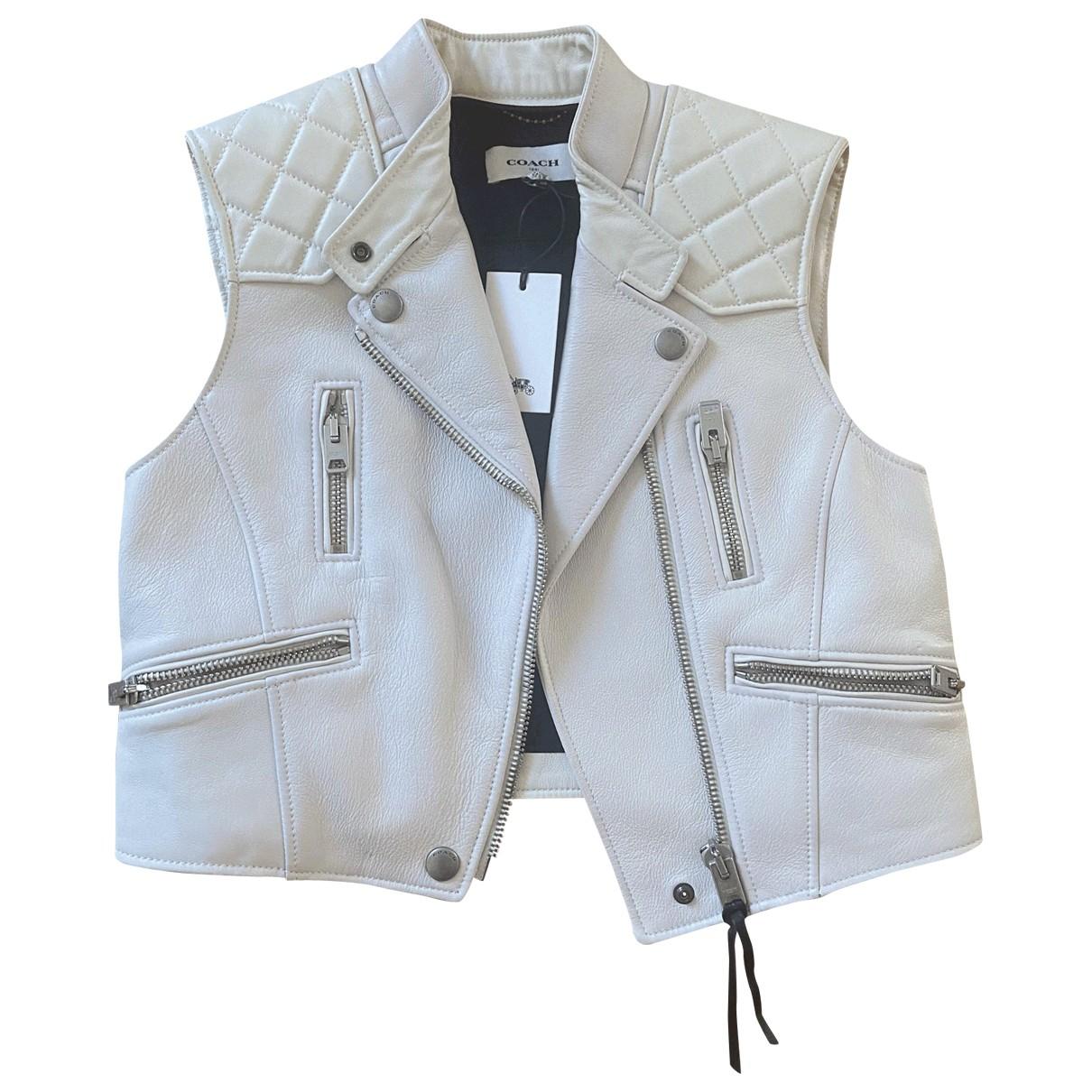 Coach - Veste   pour femme en cuir - blanc