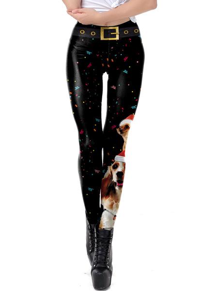 Milanoo Women Christmas Legging Christmas Pattern Black Skinny Leg Holidays Costumes