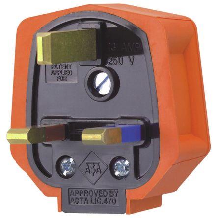 MK Electric UK Mains Plug Type G - British, 13A, Cable Mount, 250 V ac, Orange