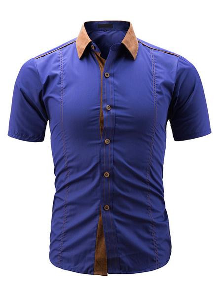 Milanoo Short Sleeve Shirt Suede Patch Slim Fit Men Casual Shirt