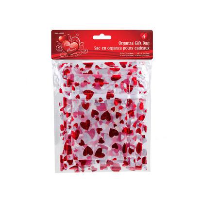 Vtines 4pk Organza Gift Bags, Heart Designs
