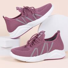 Lace Up Decor Low Top Knit Sneakers