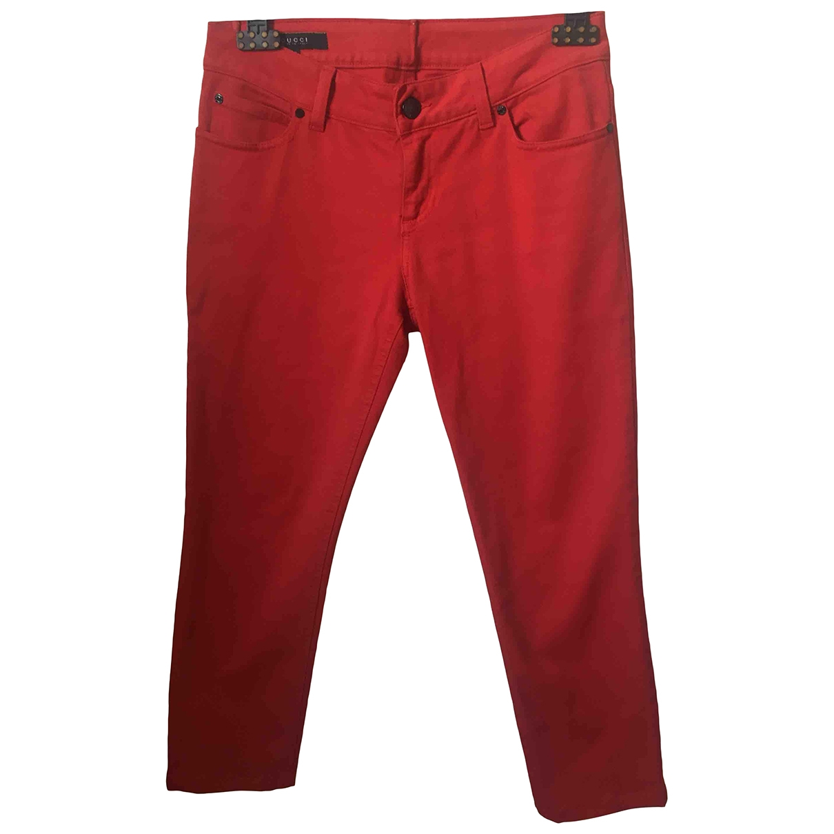 Gucci \N Red Cotton Trousers for Women 40 IT