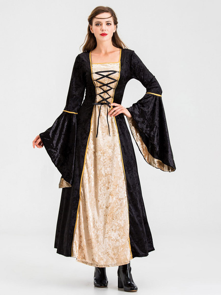 Milanoo Medieval Retro Dress Renaissance Gown Lace Up Bell Sleeve Dress