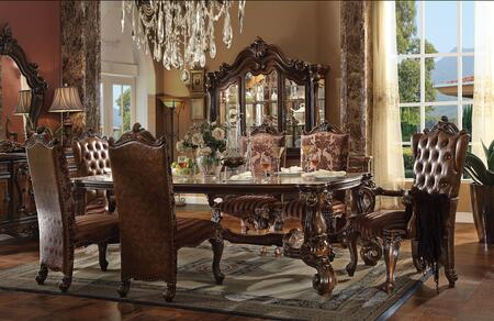 Versailles Collection 61100 84 - 120 Dining Table with 2 Extendable Leaves  Scrolled Feet  Aspen and Poplar wood Veneer Materials in Cherry Oak