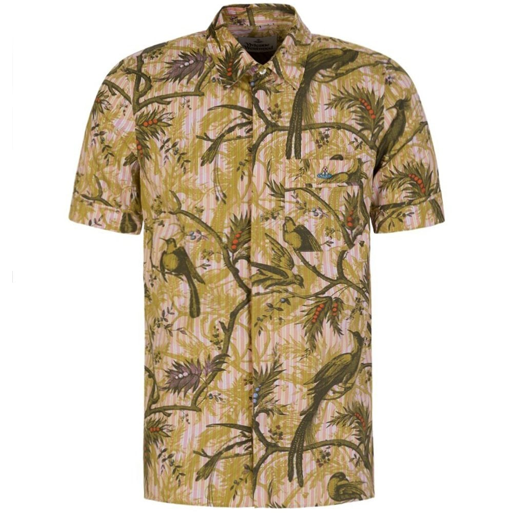 Vivienne Westwood Birds And Berries Short Sleeve Shirt Colour: GREEN, Size: EXTRA LARGE