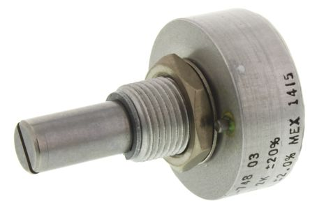 Vishay 1 Gang Rotary Conductive Plastic Potentiometer with an 6.35 mm Dia. Shaft - 2kΩ, ±20%, 1W Power Rating, Linear,