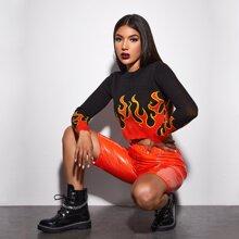 Crop Pullover mit Feuer Muster