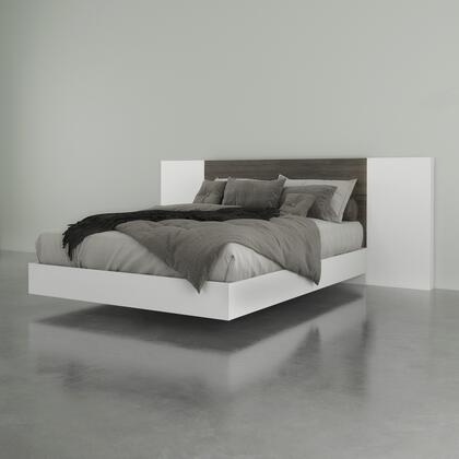 402368 Monroe 3 Piece Queen Size Bed with Platform Bed + Headboard + Panel (2 per Box)  in Bark Grey Laminate And White