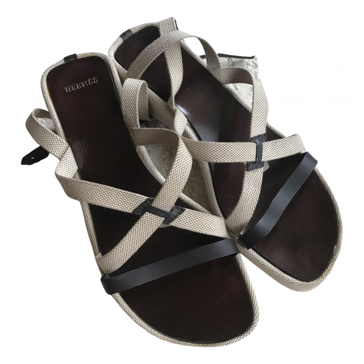 Hermès Santorini Beige Leather Sandals for Women 35 EU