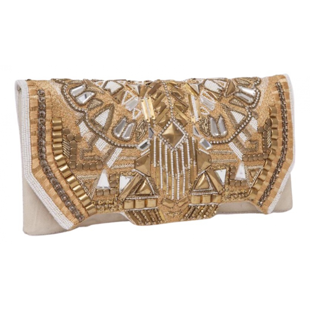 Balmain \N Clutch in  Gold Leder