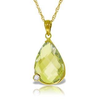 5.04 Carat 14K Solid Gold Necklace w/ Briolette Lemon Quartz & Diamond (22 Inch - Yellow)